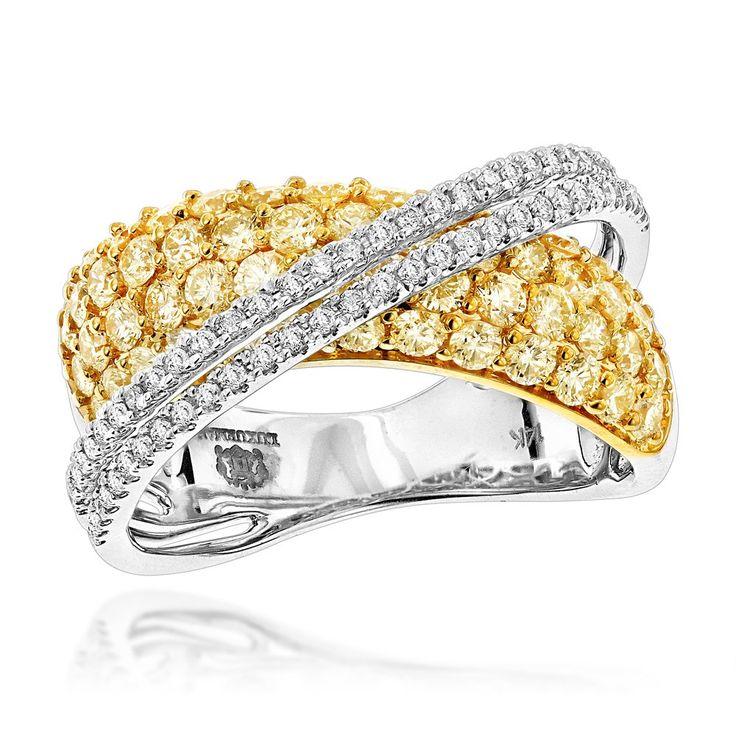 Unique Womens Luxurman 2.25ct White Yellow Diamond Cocktail Ring 14K Gold