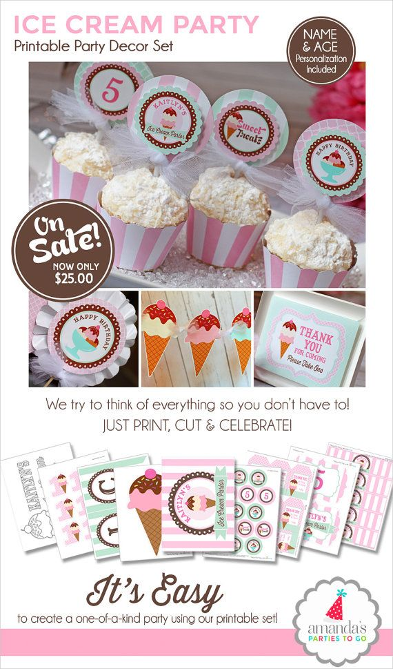 Ice Cream Birthday Party Decorations (Printable Set) ON SALE Now $25.00!! ❚❚❚❚❚❚❚❚❚❚❚❚❚❚❚❚❚❚❚❚❚❚❚❚❚❚❚❚❚ WHAT YOU ARE PURCHASING: ❚❚❚❚❚❚❚❚❚❚❚❚❚❚❚❚❚❚❚❚❚❚❚❚❚❚❚❚❚ ►Ice Cream Party Decorations (Printable Package) with LOTS of personalized files! Youll have everything youll need to host an ice cream social birthday celebration for your little sweetie! ON SALE Now $25.00!! ►Please include childs NAME and AGE under notes to seller at check out. ►PDF files will be sent to your ETSY Email. No items…