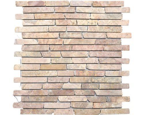 Mosaïque en pierre naturelle brick145 uni rossoverona 30 5x30 5 cm