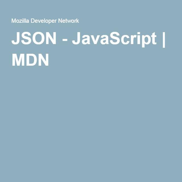 JSON - JavaScript | MDN