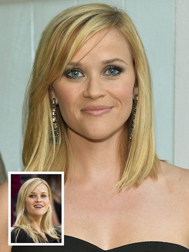 """Make thin hair look fuller Fine hair like Reese Witherspoon's can suffer from what Buckett calls """"stringy weigh-down—especially if you color your hair, which dries out the ends."""" By snipping them off into a blunt cut that hits just below the collarbone, """"Reese's hair seems thicker and healthier and has more bounce,"""" says Buckett. """"This style is just as flattering on fine curly hair, and the side-swept bangs make it sexy."""""""