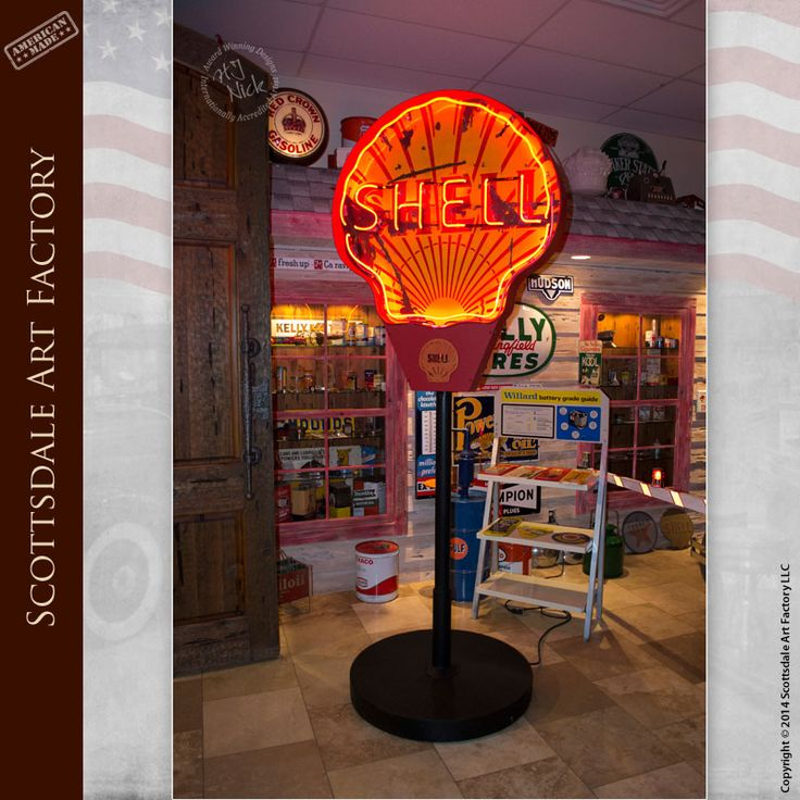 Vintage neon signs available from Scottsdale Art Factory - SHELL gas neon sign for sale