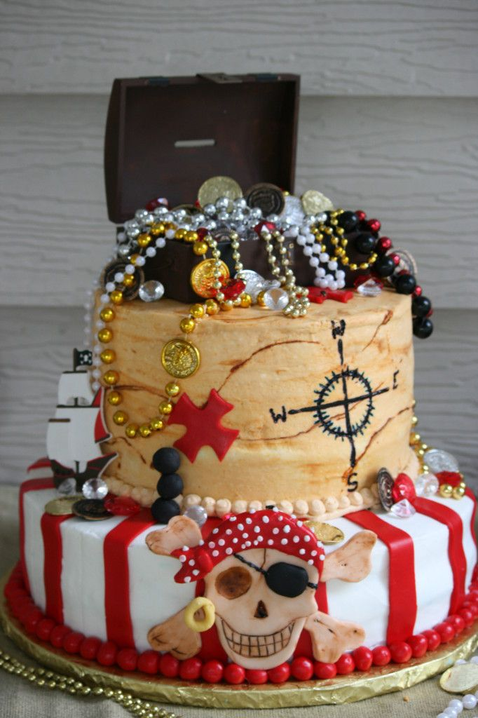 Pirate cake with treasure chest on top