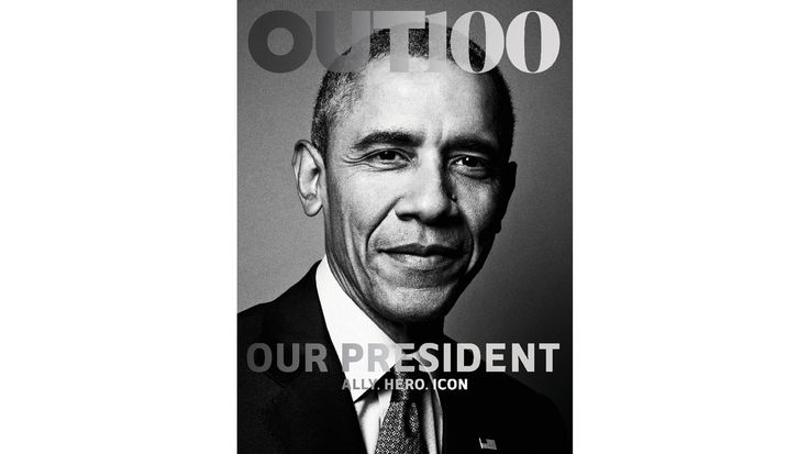 """Obama, pictured with the words """"Our President: Ally, Hero, Icon,"""" is the first sitting president to be photographed for the cover of an LGBT publication, according to Out."""