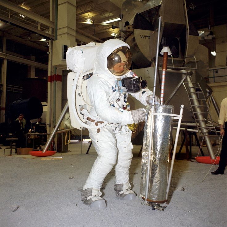 Neil Armstrong EVA training 1969 [2389 2389] Deploying an S-band antenna that was ultimately never used on on the mission.