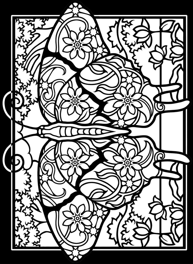 Fanciful Butterflies Stained Glass Coloring Book Adult And