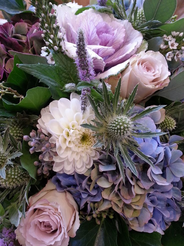 Cabbages, Thistle, Mint, Quicksand roses, Hydrangea and Dahlias made by Alice