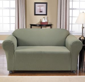 Montgomery II Sage Loveseat Slipcover. Deeply embossed box pattern with a soft luscious surface. form fitting upholstery. Rrenovation, beautiful interior design, chic home decor.