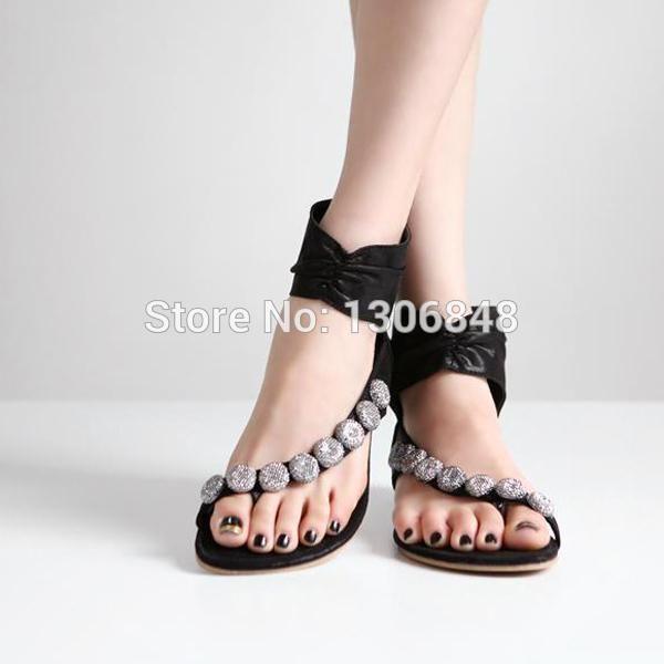 Ucuz 2015 Sıcak Moda Kadınlar Boncuklu Kama Sandalet.......