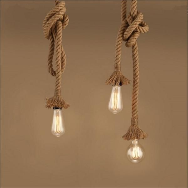 Vintage Retro Hemp Rope Lamp Pendant Lights Hanglamp Lamparas De Techo Colgante Moderna Hanging Industrial Decor Led Lamp Modern Rope Pendant Light Rope Lamp Ceiling Pendant Lights