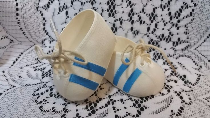 Vtg. White /w Blue Stripes Tennis Shoes Cabbage Patch Kids CPK Baby Doll Shoes