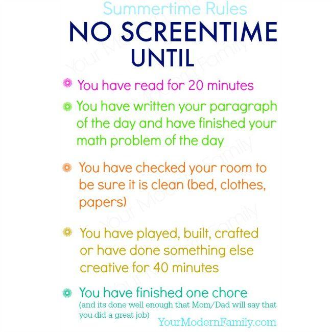 No Screen-time Until  (free printable)