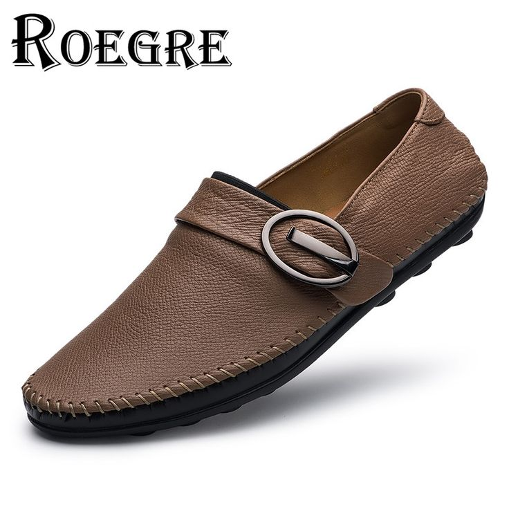 39.34$  Watch here - http://alixz2.shopchina.info/1/go.php?t=32792996603 - ROEGRE New Arrival 2017 Men Flats Genuine Leather Shoes Luxury Design Buckle Men Loafers Shoes Brown Wine Red Black Size 36-44  #magazineonline