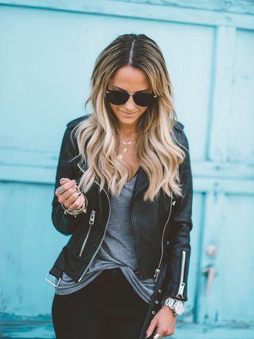 Black leather jacket with a grey t & black denim jeans
