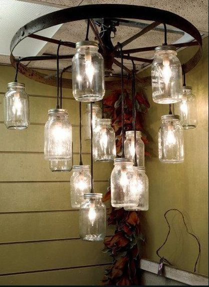 how to make a wagon wheel chandelier with mason jars rosepourpre alternating length wagon wheel mason jar
