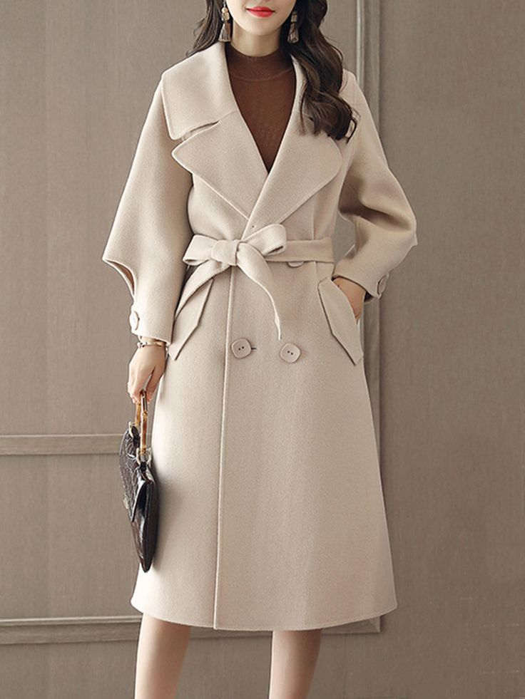 Lapel Double Breasted Belt Plain #Longline #Woolen #Coat