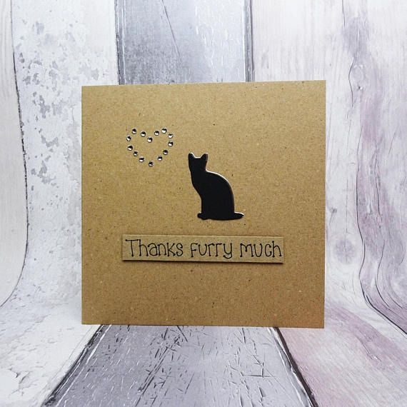 Cat thank you card Handmade thanks card Cat sitter card