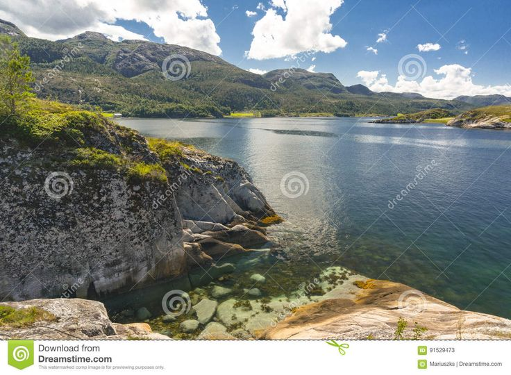 Norwegian Fjord In The Summer. Colorful Bay, Coast Of Norway - Download From Over 58 Million High Quality Stock Photos, Images, Vectors. Sign up for FREE today. Image: 91529473
