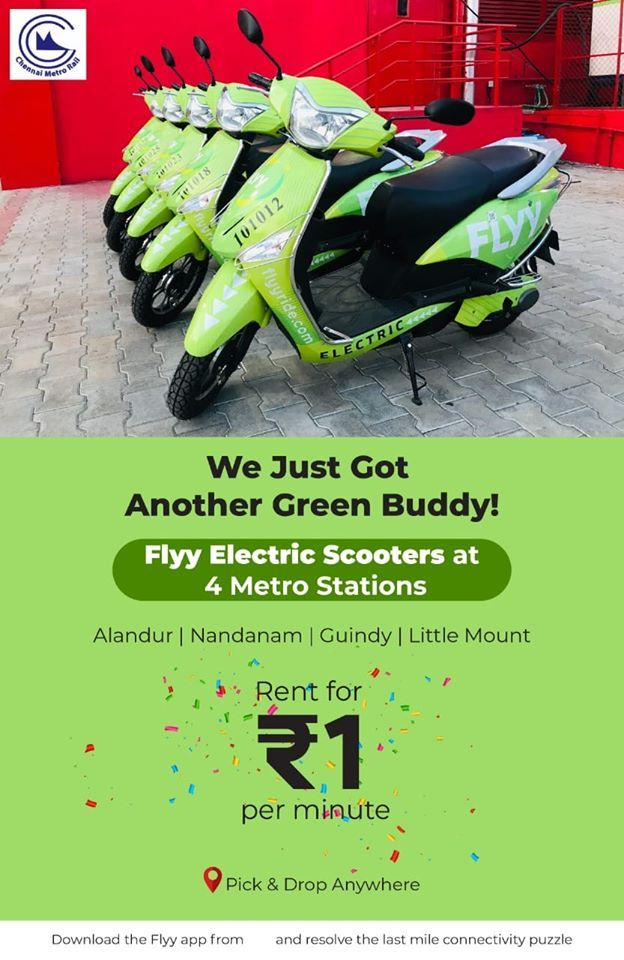 Flyy Ride Introduce Rental Electric Scooters In Chennai Metro