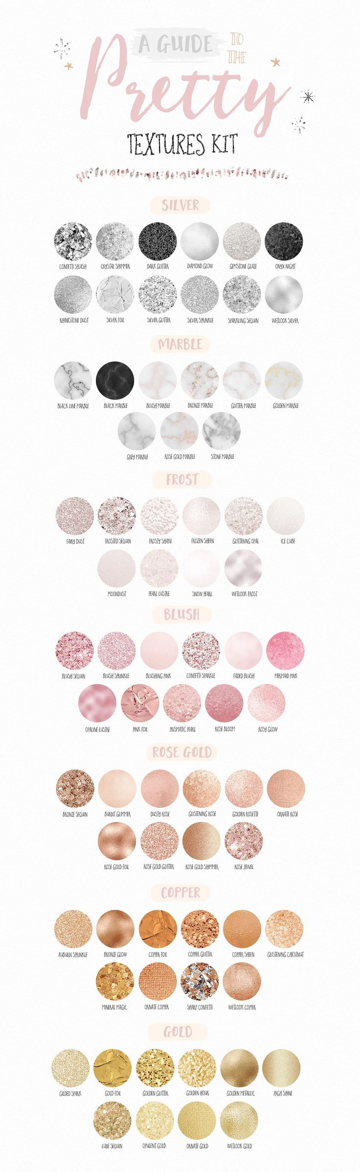 A guide to the Pretty Textures Kit | Download textures in silver, marble, blush, rose gold and gold to add to graphic design, logos, branding, stationery, scrapbooking, blog design, eBooks and more! Click on the image to find it at Creative Market ♥