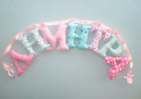 Pink  mint teal 55 letter banner girl's room by LittleFairyCottage