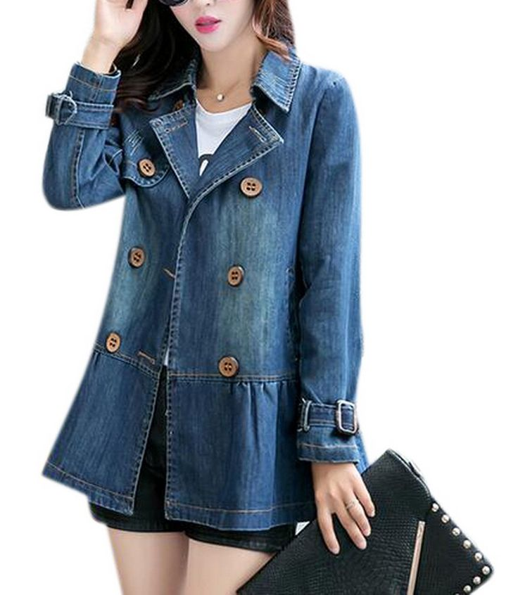 Tengfu Women Elegant Blue Double Breasted Denim Jacket Windbreaker Trench Coat -- Awesome products selected by Anna Churchill