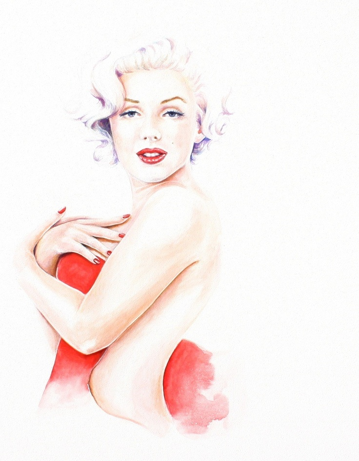 Marilyn+Monroe+in+Red+Dress+painting+giclee+by+christydekoning,+$5.00