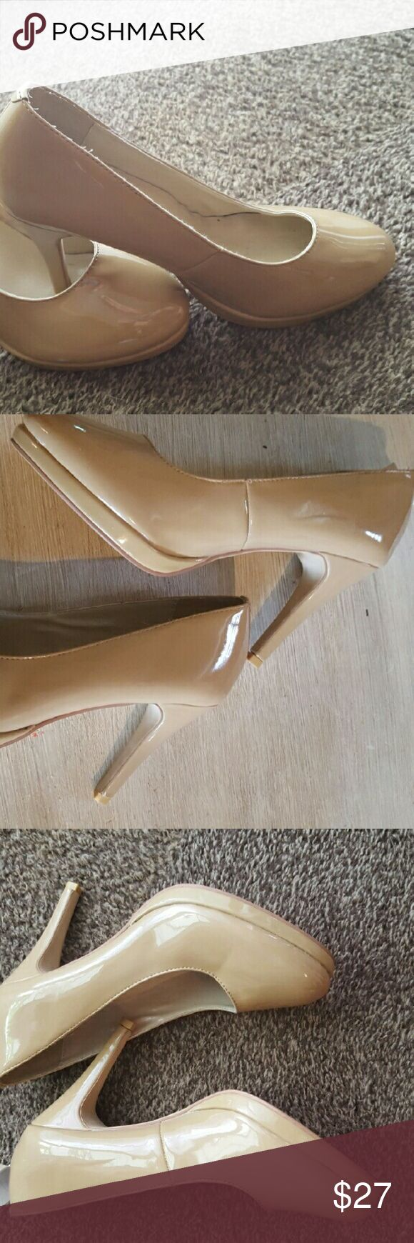 Nude/cream high heels cute for day, night, or work Lightly used, cute nude heels with slight platform on front of heel Christin michaels Shoes Heels