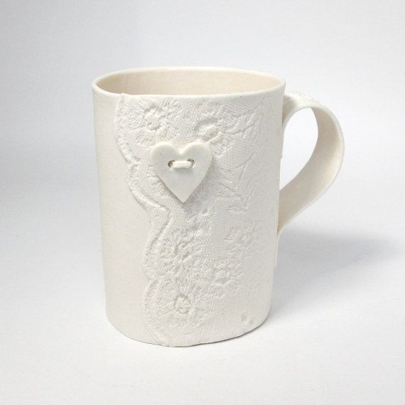 White+lacy+porcelain+mug+with+heart+button+detail+by+VanillaKiln,+£22.00