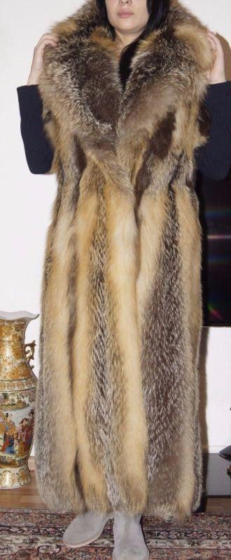 Soldes Manteau de fourrure fourrure renard gilet Croix Renard Renard Fourrure