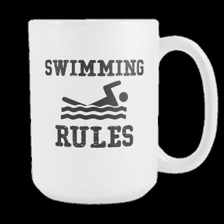 Swimming Rules - Swimming Coffee Mug, 15 Ounce