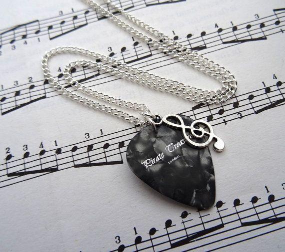 Plektrum & Violinschlüssel Halskette - Musik Hinweis Charme - Gitarre holen - Silber - Sänger Musiker Schmuck