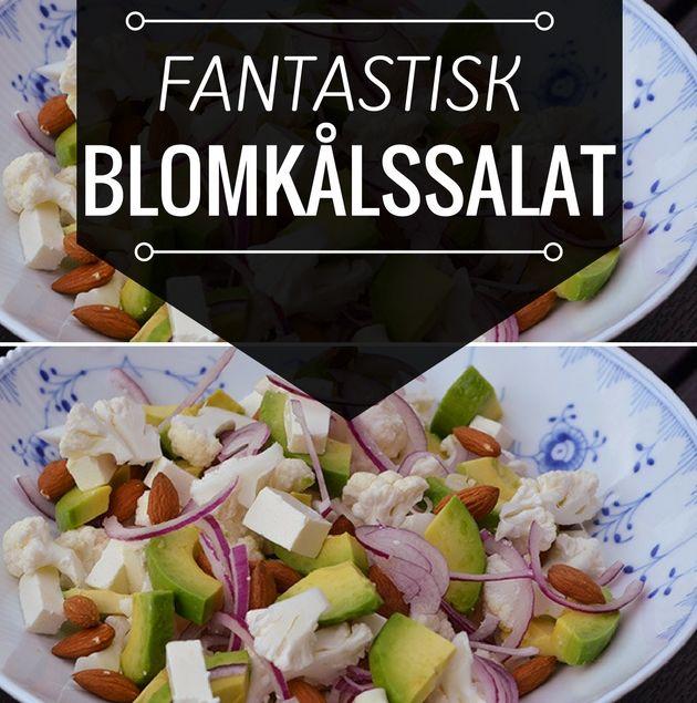 Jeg er kæmpe fan af den her salat med fine blomkålsbuketter, cremet avocado og knasende mandler.