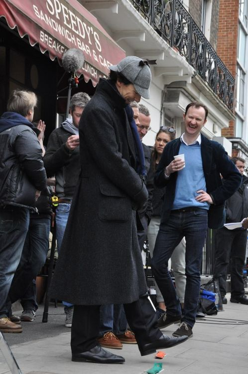 Mark Gattis is like a sassy girl. Like hand on hip Starbucks. Win. Sherlock looking adorable like always.