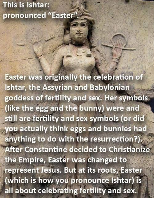 Ishtar/Easter. Has nothing to do with the resurrection of Jesus.