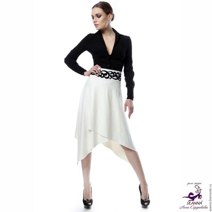 """Купить Эффектная юбка из замши-стрейч """"Уютно-удобная"""" с бархатной ажурной апп - чёрно-белый"""