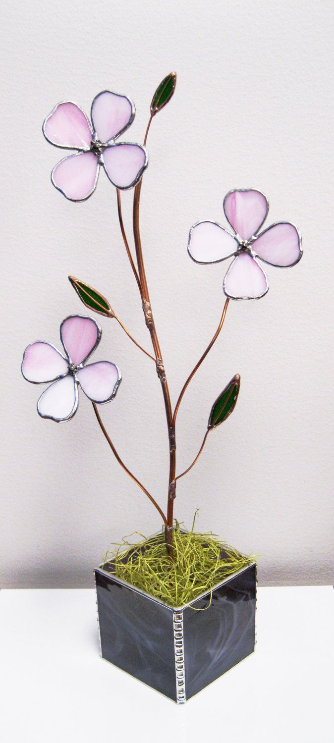 Dogwood in Prettiest Pink Stained Glass - Cyber Monday Special -15% OFF. $75.00, via Etsy.
