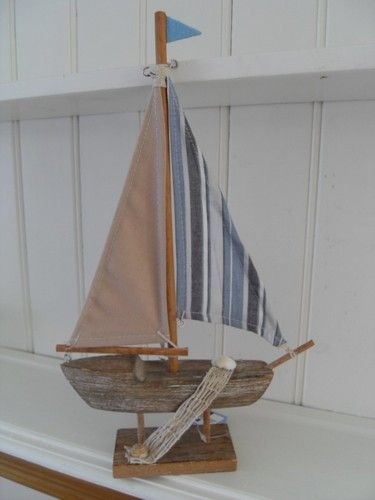 NAUTICAL WOODEN BOAT WITH A BLUE STRIPED SAIL CHIC N SHABBY BATHROOM