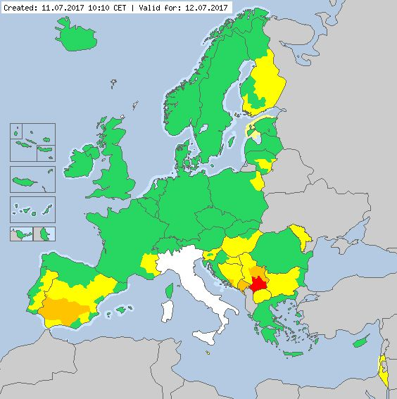 Valid for 12.07.2017 Meteoalarm - severe weather warnings for Europe - Mainpage