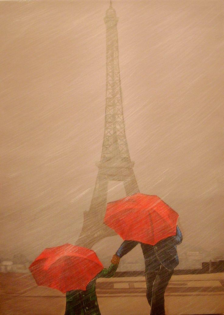 Gema Silva, ORIGINAL Acrílico 50x70 cms Tour eiffel Paris.