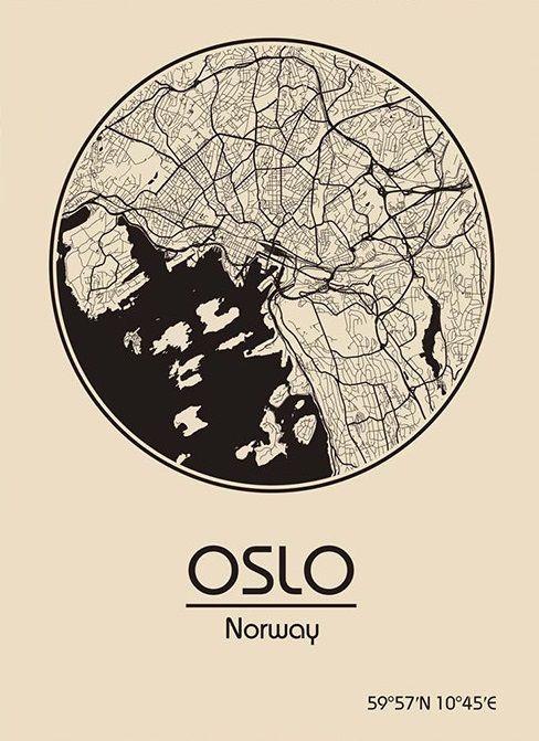 Karte / Map ~ Oslo, Norwegen / Norway