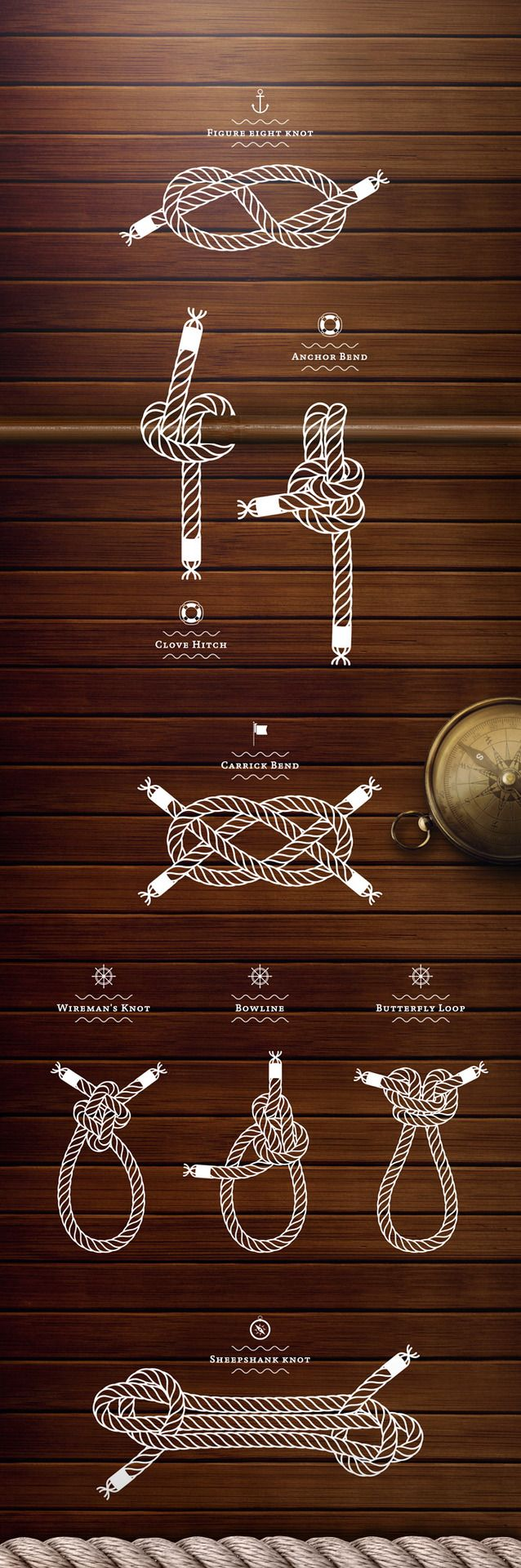 Sailing knots illustration.