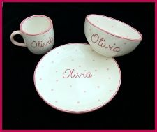 Personalised Pottery Set (3). Available in several colours. A beautiful hand painted gift for someone special.