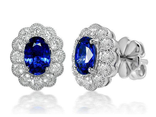 Elegant Blue Sapphire & Diamond White Gold 18ct hallmarked Oval studs by StartJewellery on Etsy