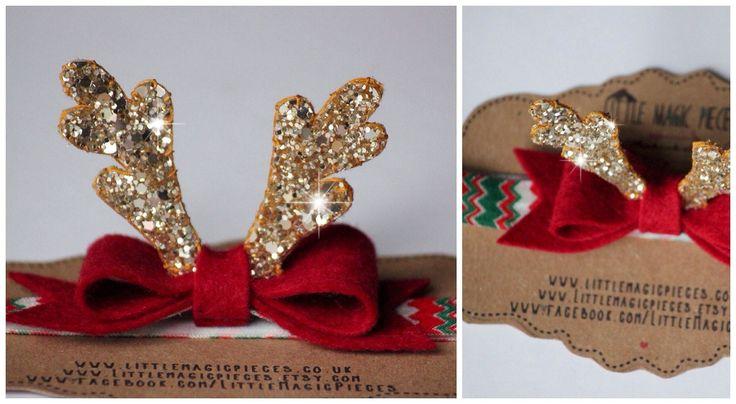 Handmade Christmas Rudolph Antlers Bow Headband: Hair Clip