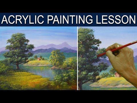 The Big oak Tree Beside The River Acrylic Painting Lesson by JM Lisondra - YouTube