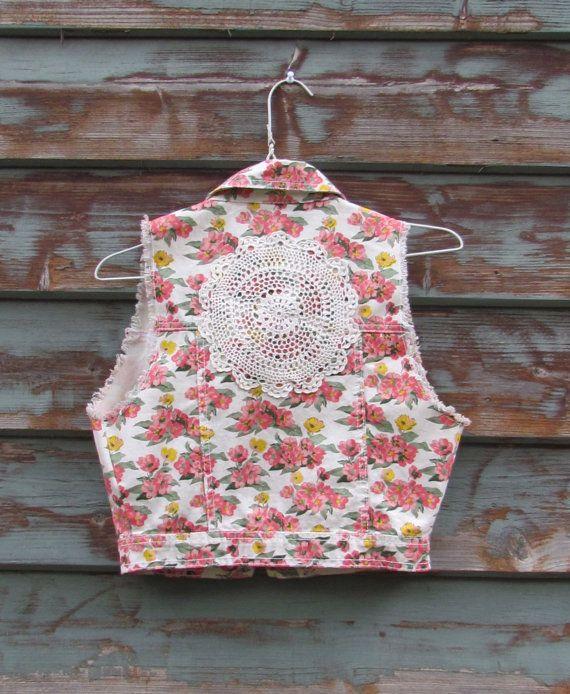 Floral Upcycled Doily Vest... Hippie boho girly by doilydreaming