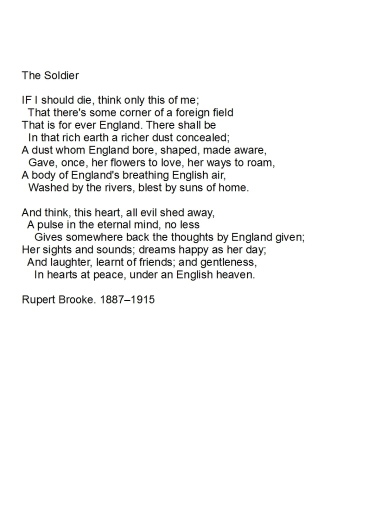 """analysis of the poem the soldier by rupert brooke Rupert brooke's """"the soldier"""": analysis this poem is about a man who loves his country dearly  tags: the soldier analysis poem rupert brooke share this ."""