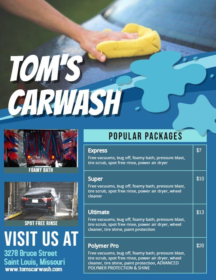 Car Wash Price List Template Blue Car Wash Car Wash Prices Car Detailing