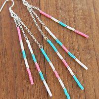 Boucles : Boucles d'oreilles Milla perles turquoise rose blanc et Argent 925 Soline
